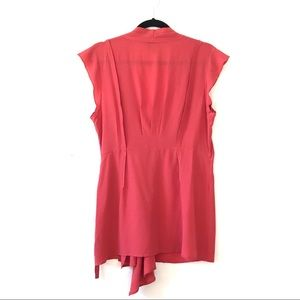 Anthropologie Tops - fei Silk Wrap Flutter Sleeve Top Watermelon Red